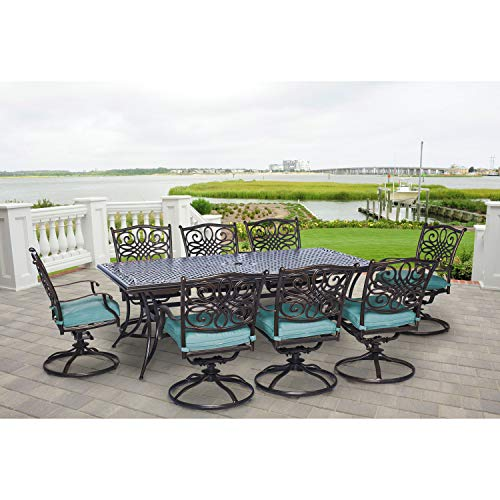 "Hanover Traditions 9-Piece Cast Aluminum Outdoor Patio Dining Set, 8 Swivel Rocker Chairs and 42""x84"" Rectangle Table, Brushed Bronze Finish with Blue Cushions, Rust-Resistant, TRAD9PCSW8-BLU"