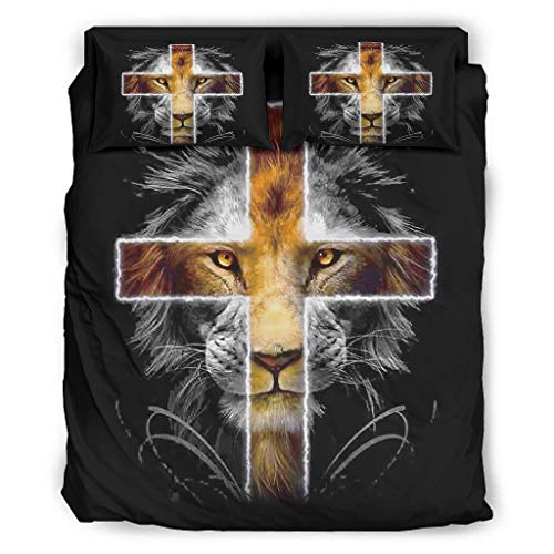Lion Cross 4-Piece Bed Twin Four Piece Bed Linen with Zip Includes Friend Skin 1 Duvet Cover & 1 Duvet & 2 Pillowcases White 240 x 264 cm