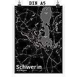 Mr. & Mrs. Panda Poster DIN A5 Stadt Schwerin Stadt Black -