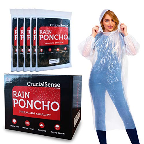CrucialSense Rain Poncho for Adults - Disposable Family Pack of 5, Waterproof Rain Ponchos/Clear Raincoat with Hood for Men and Women. Ideal for Disney, Hiking, Emergency & Travel