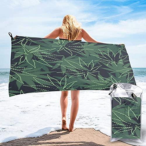 Toalla Playa de Secado rápido Ganja Weed Marijuana Seamless Vector Pattern Background Toallas de baño absorbentes para baño Natación Piscina Yoga Viajes