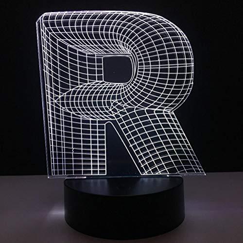 Leeypltm Betekenis R letter3DPhantom LED Nacht Licht, 7-Kleur Flash en Touch Schakelaar, USB-aangedreven Slaapkamer Tafellamp, Home Decoratie, Children's Gift, Verjaardagscadeau