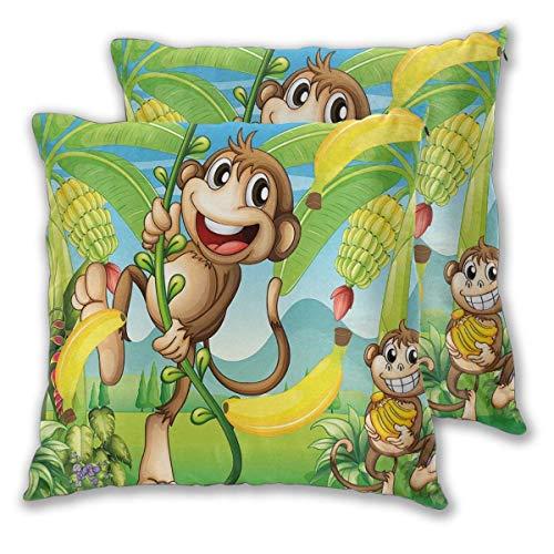 Decor kussenslopen polyester pluche vierkant gooien kussen bank kussenslopen set, twee apen in de buurt van de banaan plant tropische natuur landschap wijnstok grappige dieren appels, bank kussensloop set van 2 Pack 16x16 20