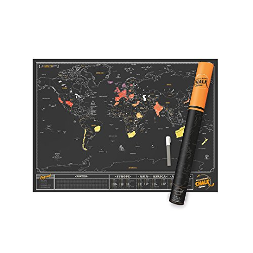 Luckies of London Scratch Map Chalk Edition | Mappa del mondo da grattare con sfondo in vernice lavagna nera e pennarello di gesso per personalizzarla, 59,4 x 82,5 x 0,2 cm