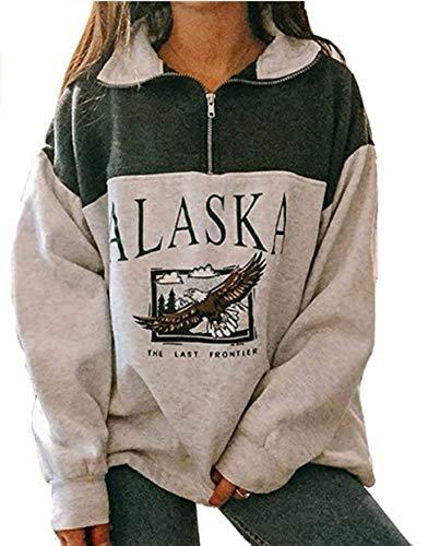 Sudadera para Mujer Alaska Letra Impresión Suelta Casual Manga Larga Hip Hop Alto Cuello Redondo Cremallera Águila Gráfico Jerseys Pullover Top (Verde-Estampado Animal, L)