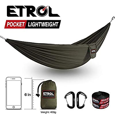 ETROL Outfitters Ultralight Camping Hammock with Tree Straps - Feather Light Lightweight Compact Durable Ripstop 20D Parachute Nylon Hammocks - Outdoor Travel Backpacking Hiking