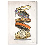 """Image of The Oliver Gal Artist Co. Fashion and Glam Wall Art Canvas Prints Arm Candy' Home Décor, 10"""" x 15"""", Orange, Gold"""