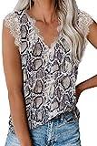 lime flare Women Sexy V Neck Lace Trim Summer Cami Tank Tops Dressy Silk Animal Print Camisole Shirt (Medium,White Snake Skin Eyelash Lace)