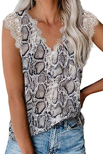 lime flare Women Sexy V Neck Lace Trim Summer Cami Tank Tops Dressy Silk Animal Print Camisole Shirt (Large,DW# White Snake Skin Eyelash Lace)