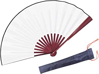 HONSHEN Folding Fan,Handheld Chinese Arts Fans,Bamboo Hard Paper Hand Fans with a Fabric Sleeve for Performance Decoration...