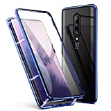 OnePlus 7 Pro Case, ZHIKE Magnetic Adsorption Case Front and Back Tempered Glass Full Screen Coverage One-Piece Design Flip Cover for OnePlus 7 Pro Case (Upgraded Version-Clear Blue)
