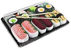 Idea Regalo - Rainbow Socks - Donna Uomo Calzini Sushi Salmone Tamago Tonno 2x Maki - 5 Paia - Taglia 36-40