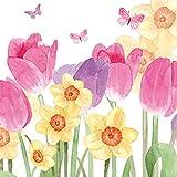 Home Collection Casa Cucina Decorazione Accessori Set 40 Tovaglioli Monouso Carta 3 veli 33 x 33 cm Motivo Primavera Fiori Farfalle Acquerelli