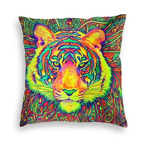 wenhe Create Colorful Tiger Head Art Velvet Cushion Throw Pillow Case Plush Decor Decorations Sofa,Bed,Home 24'X24'