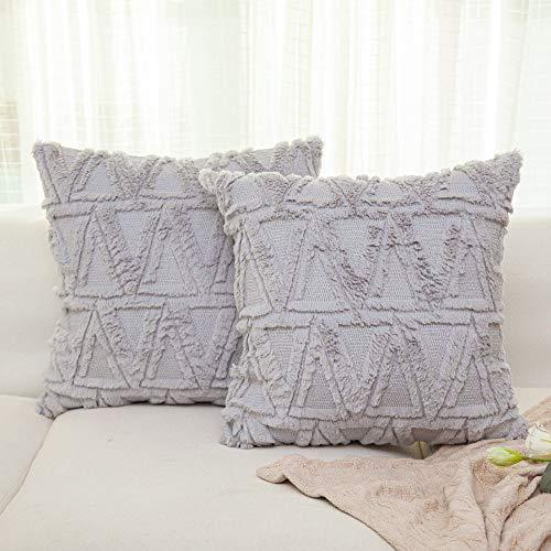 NordECO HOME Luxury Samt Soft Solid Kissenbezüge, Flauschig Fell Kissenhülle für Schlazimmer Sofa Dekoration, 45x45cm, hellgrau, 2er Pack, ohne Kisseneinlage
