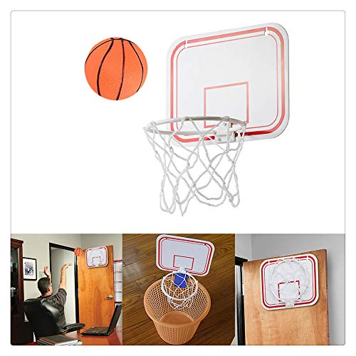 Plastic Basketball Hoop Game for Kids and Adults, Indoor Mini Basketball Hoop and Balls,Indoor Basketball Set for Home, Office, Bedroom, Best Gift for Boys and Girls (White, 7.876.3 in)