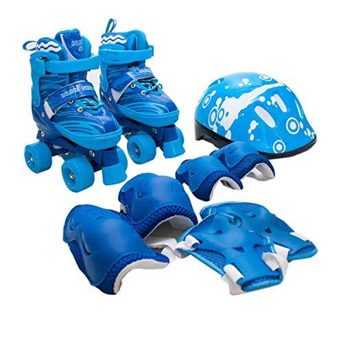 Patins Infantil Roller 4 Rodas + Capacete Proteção Ajustável Azul - S - 29 AO 32