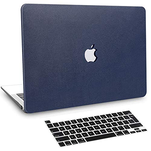 BELK Funda MacBook Pro 13 Pulgadas 2020-2016 con/sin Touch Bar, Delgado Cubierta de Cuero PU Dura Carcasa Rígida con Cubierta Teclado (Modelo A2338 M1 A2289 A2251 A2159 A1989 A1706 A1708) Azul
