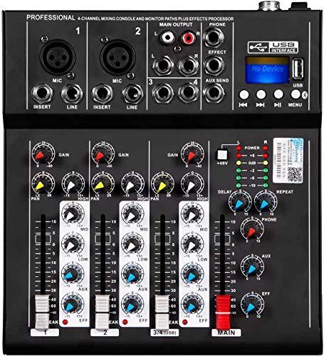 Depusheng HT4 Jack USB professionale a 4 canali Mixer audio portatile Bluetooth Live Studio Audio Console di missaggio audio DJ per registrazione su computer, bande