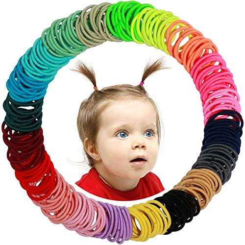 WillingTee Baby Hair Ties Multicolor Baby Girls Hair Ties Finger Hair Ties Thin Hair Ponytail Holder Hair Accessories for Baby Girls Newborn Infants Toddlers (2CM in Diameter 200Pieces)