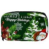 Bolsa de Maquillaje de Viaje portátil,Feliz Navidad Wish y Felices Fiestas Saludos ,Bolsa de cosméticos para Mujeres,Bolsa organizadora de Maquillaje con Cremallera de Belleza