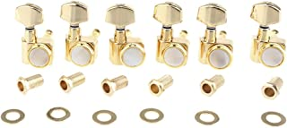 Musiclily Pro 6-in-line 2-pins Guitar Locking Tuners Machine Heads Tuning Pegs Keys Set for Fender Strat/Tele, Gold