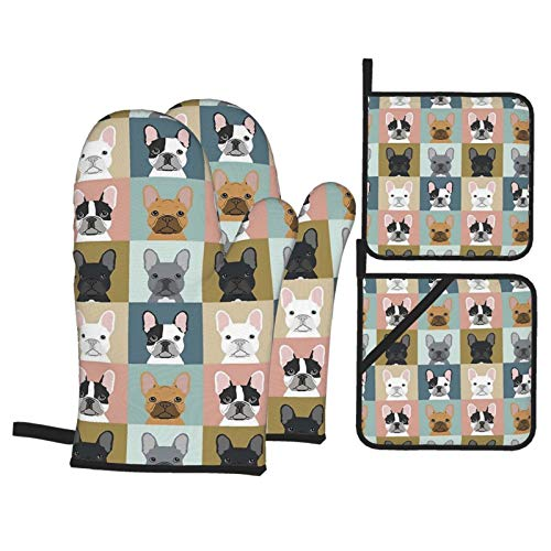 Msacrh Cute French Bulldogs Oven Mitts and Pot Holders Sets of 4,Resistant Hot Pads with Polyester Non-Slip BBQ Gloves for Kitchen,Cooking,Baking,Grilling