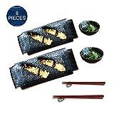 Juego de sushi de porcelana, platos de servir rectangulares japoneses para postre, ensalada de aperitivos, 2 juegos de platos de cerámica para sushi con platos de salsa y palillos chinos. 12''