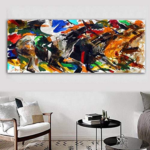 Grote olieverfschilderijen, wand, woonkamer, doek, dieren, abstract, kleurrijk, galop, decoratie van het huis zonder lijst, schilderij