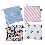 HEALIFTY 4 Stücke Damenbinde Tasche Tampons Sammeln Taschen für Frauen Mädchen (Kaktus, Flamingo,...