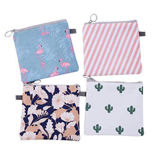 HEALIFTY 4 Stücke Damenbinde Tasche Tampons Sammeln Taschen für Frauen Mädchen (Kaktus, Flamingo, Blume, Streifen, 1 Stück)