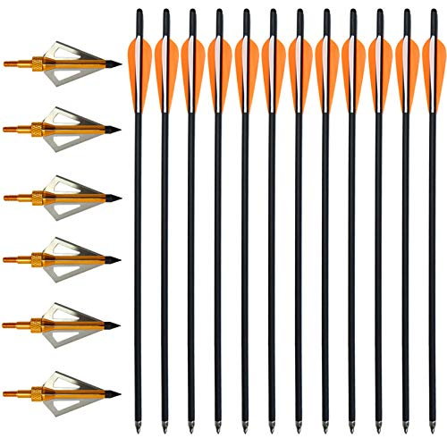 VNAKER 20 Inch Carbon Crossbow Bolts 12 Pack and Hunting Broadheads 6 Pack, Carbon Crossbow Arrows for Hunting and Outdoor Practice(Orange)