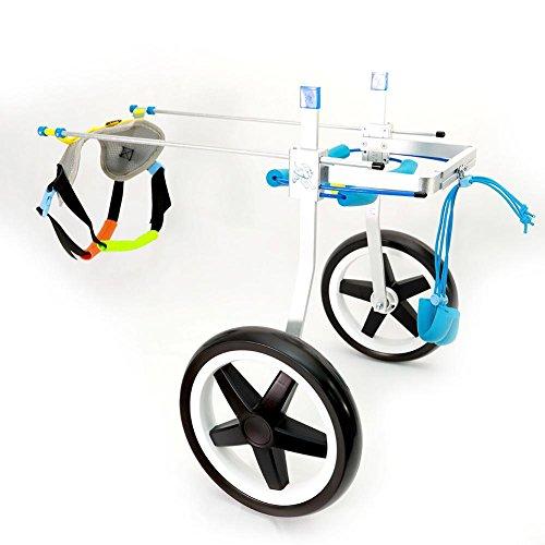 Teabelle - Silla de ruedas ajustable para rehabilitación de las patas de perros pequeños/perritos/cachorros, 2 ruedas, talla XS