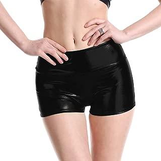 Women Metallic Stretch Hot Shorts Booty Yoga Pants Outfit