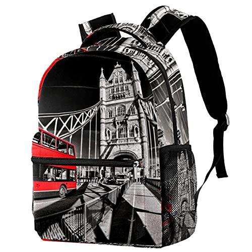 RuppertTextile Zaino per ragazze e ragazzi Bookbag Multiuso Daypack Borsa da viaggio all'aperto Tower Bridge Red Bus Londra con tasca taglia Size