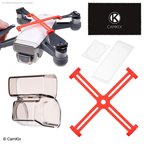CamKix Protection Kit Compatible with DJI Spark: Propellor Fixators, 2in1 Gimbal Lock and Shield, Camera/Sensor Protectors - Keeps The Propellers and Gimbal Locked in a Fixed Position, Shields