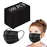 Kids Disposable Face Mask, 3-Layer Efficiency Protective, Breathable Safety Masks for Kids Daily Use,Black(100 pcs)