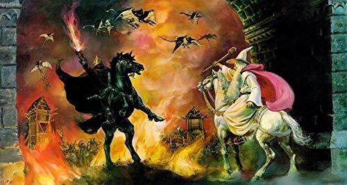 199Tdfc - Malen nach Zahlen - Herr der Ringe Gandalf gegen Ringgeist - Bilder malen für Erwachsene, inklusive Pinsel und Acrylfarben, 40x60 cm