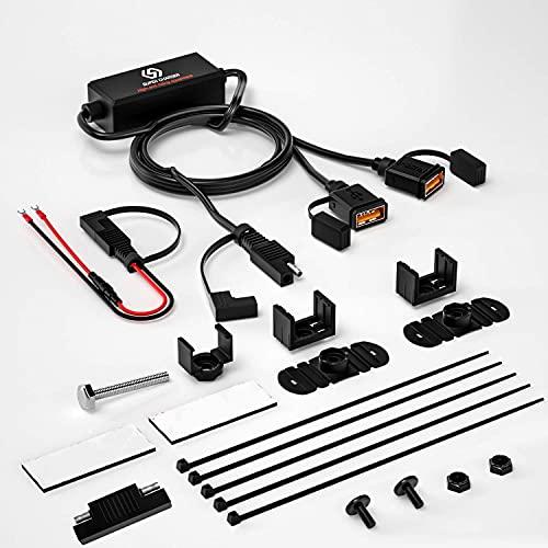 Kriogor Motocicleta Cargador USB QC 3.0 USB Enchufe y IP65 Impermeable Moto Adaptador USB para Adaptador Cargador para Coches, Motos, Motocicleta o Barco