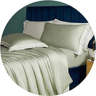 طقم سرير قطني من أربع قطع ملاءات نوم حريري عارية وغطاء لحاف أغطية سرير مزدوجة مريحة وناعمة لجميع الفصول