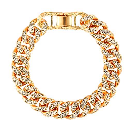 GBX De lujo de 12 mm de Hielo Cubano Enlace de la Cadena de la Pulsera de las Mujeres de los Hombres de Oro de Plata Bling Rhinestone Pulsera de la Joyería 007801GD