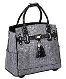 JKM & Company GREYSTONE Alligator Crocodile Compatible With Computer iPad, Laptop Tablet Rolling Tote Bag Briefcase Carryall Bag