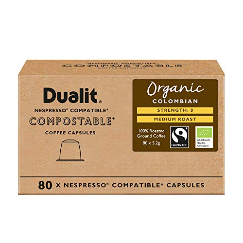 Nespresso? Compatible Recyclable Aluminium & Compostable Coffee Capsules by Dualit | 100 Pack - 10 X 10 Pk - 100 Servings of Premium Eco Friendly Coffee Pods - 100% Recyclable Nespresso Capsules