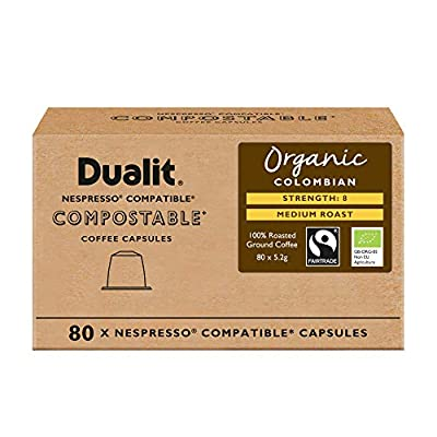 Nespresso® Compatible Recyclable Aluminium & Compostable Coffee Capsules by Dualit | 100 Pack - 10 X 10 Pk - 100 Servings of Premium Eco Friendly Coffee Pods - 100% Recyclable Nespresso Capsules