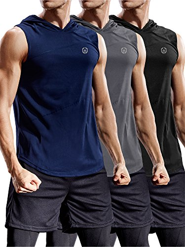 Neleus 3 Pack Workout Athletic Gym Muscle Tank Top with Hoods,5036,Black,Grey,Navy Blue,US S,EU M