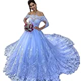 Women's Off Shoulder Lace up Wedding Gown A-Line Bridal Dress with Long Train White (Apparel)