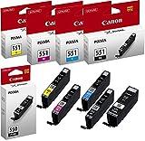 Canon PG-550+CLI-551 5 Cartuchos de tinta original BK/C/M/Y/PGBK para Impresora de Inyeccion de tinta Pixma MX725-MX925-MG5450-MG5550-MG5650-MG6350-MG6450-MG6650-MG7150-MG7550-iP7250-iP8750-iX6850