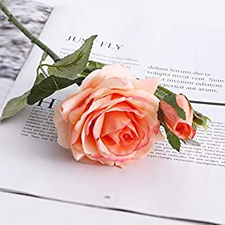 Hockus Decorations LAN Kwai Fong Simulation Rose 1 Flower 2 Buds moisturizing Rose Fake Flower Plant Home Wedding Decoration Green Plant Pot - (Color: L-4)
