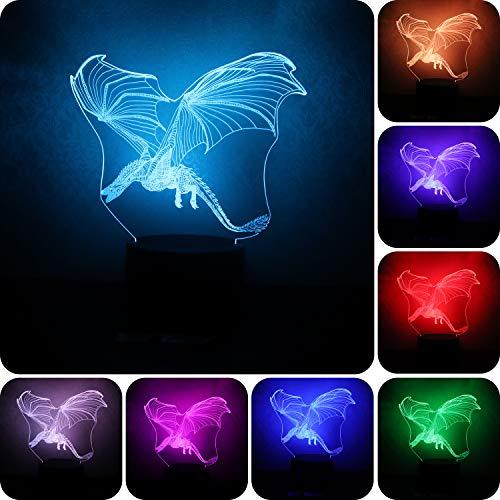 3D Fire Dragon Nachtlicht für Kinder 3D Illusion Lamp Multicolor mit Fernbedienung für Wohnzimmer Schlafzimmer Bar Geschenk Spielzeug