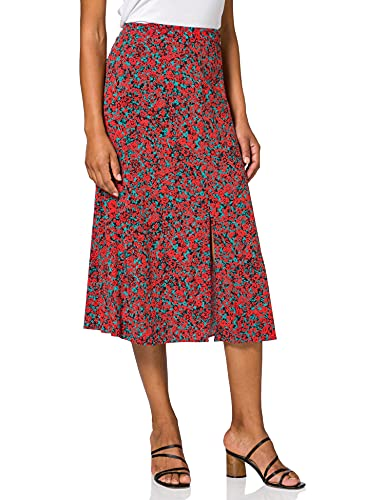 Tommy Hilfiger Viscose Midi Skirt Falda, Camo Floral/Escarlata, 40 para Mujer